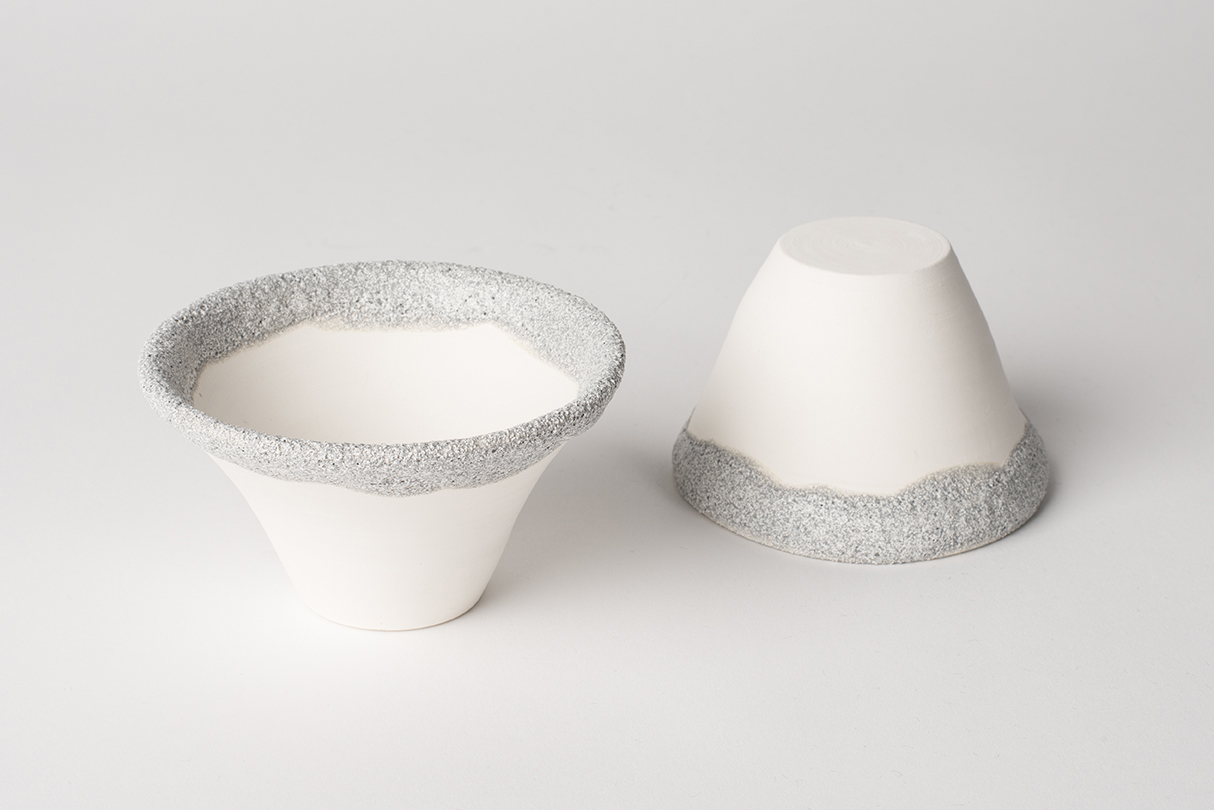 Small Porcelain Bowls with Silver Volcanic Glaze 10 cm diameter