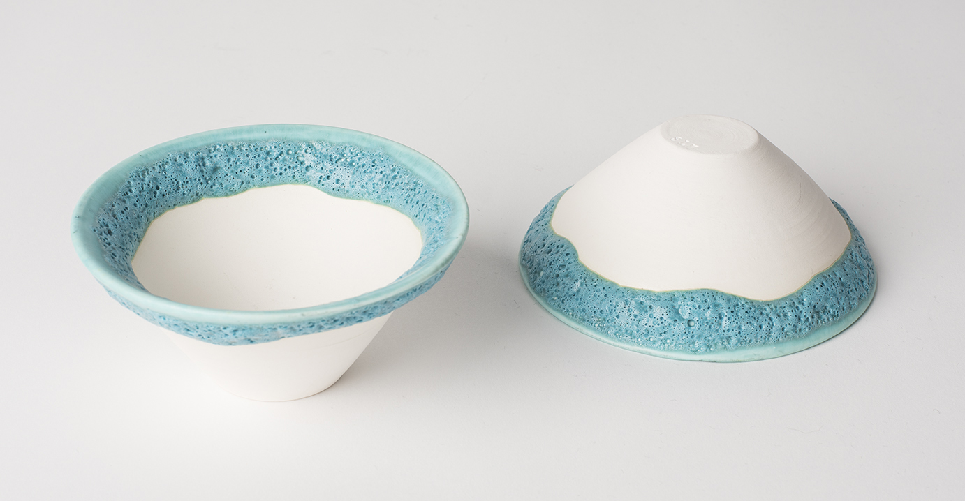 Small Porcelain Bowls with Turquoise Volcanic Glaze 10 cm diameter