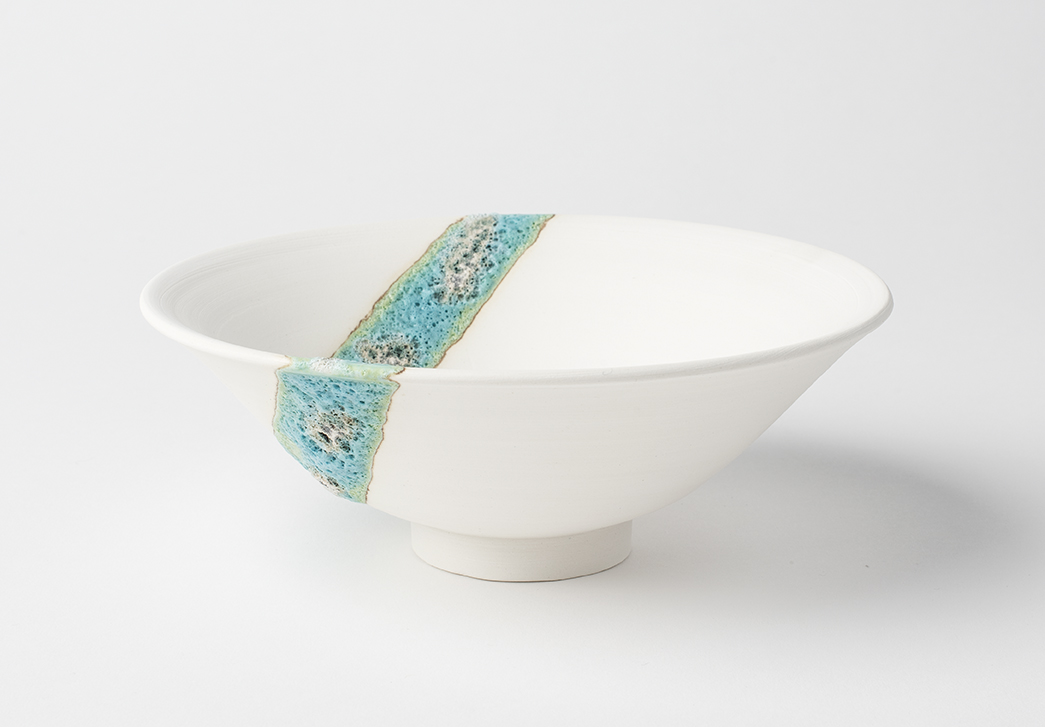 Porcelain Bowl with Stripe of Turquoise Volcanic Glaze 15 cm diameter